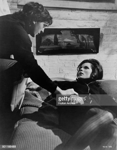 Samantha Eggar gets suspicious of David Hemmings in a scene of the movie The Walking Stick circa 1970