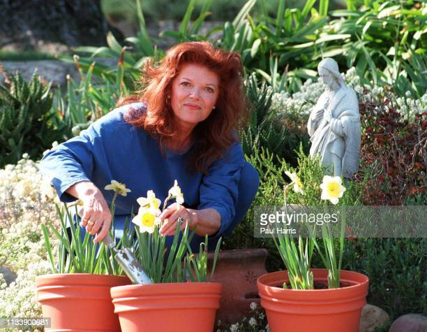 Samantha Eggar in her garden February 7, 1996 in Bel Air, California