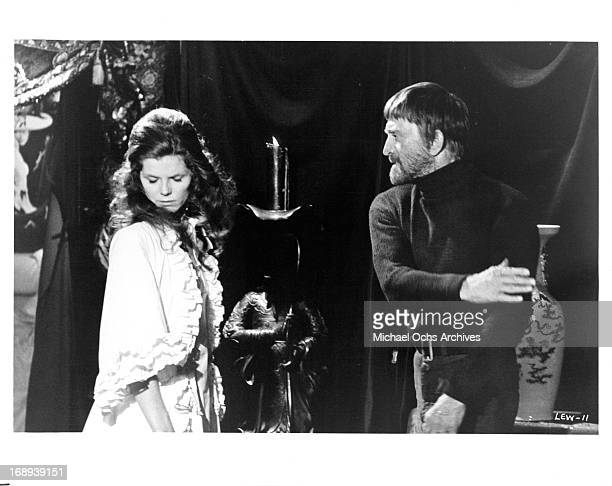 Samantha Eggar is confronted by Kirk Douglas in a scene from the film 'The Light At The Edge Of The World' 1971