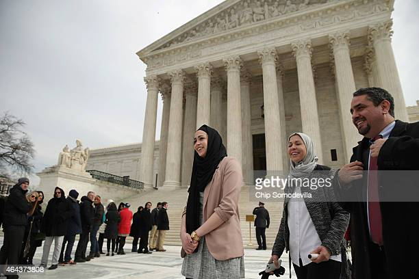 Samantha Elauf her mother Majda Elauf of Tulsa Oklahoma and Equal Employment Opportunity Commission General Counsel David Lopez leave the US Supreme...