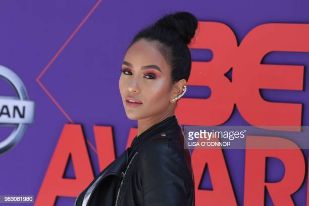 Samantha Elizabeth poses upon arrival for the BET Awards at Microsoft Theatre in Los Angeles California on June 24 2018