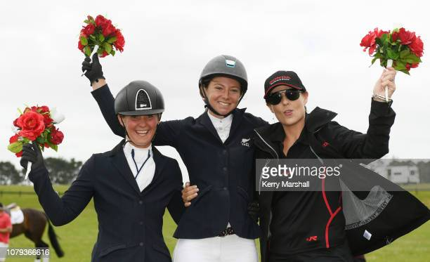 Samantha Felton celebrates with Madison Crowe and class sponsor Nadine Bell after winning the Honda New Zealand CCI*** during the 2018 Puhinui...