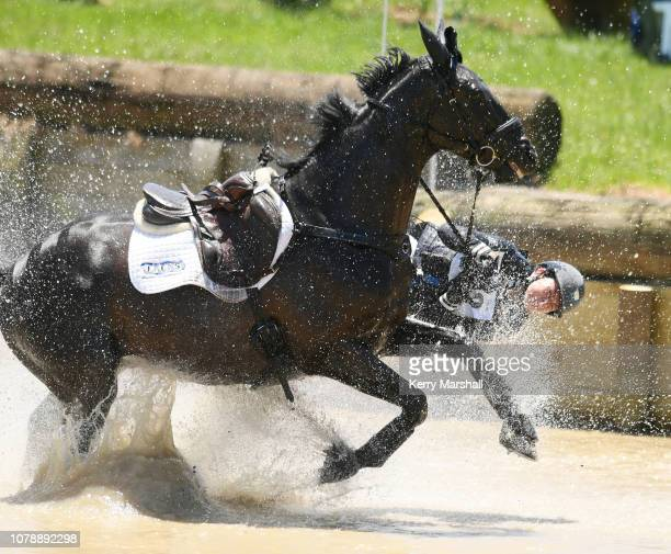Samantha Felton falls from Ricker Ridge Sooty GNZ in the Auckland Council CCI** during the 2018 Puhinui International Horse Trials at The Puhinui...