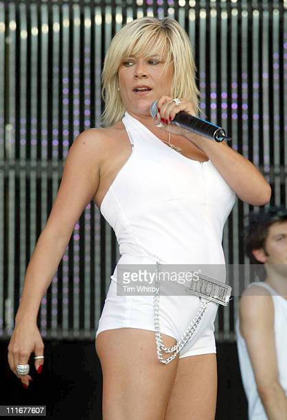 Samantha Fox during 2004 Big Gay Out - Show at Finsbury Park in London, Great Britain.