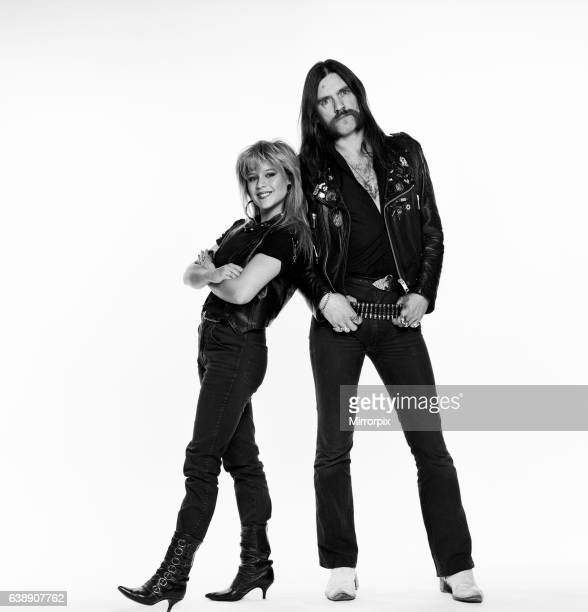 Samantha Fox Glamour model and Lemmy musician singer and songwriter who founded and fronts heavy metal rock band Motorhead Studio Pix 23rd April 1985