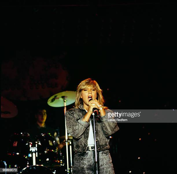 Samantha Fox performs on stage at the Montreux Rock Festival held in Montreux Switzerland in May 1987