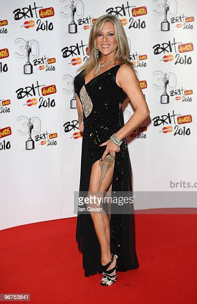 Samantha Fox poses in the Awards room at The Brit Awards 2010 at Earls Court on February 16 2010 in London England