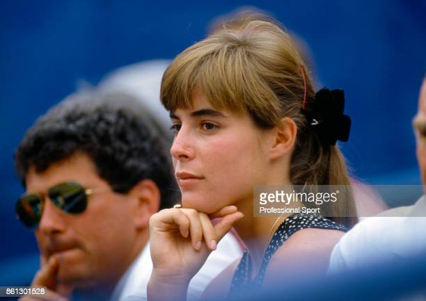 Samantha Frankel girlfriend of Ivan Lendl watches during the US Open at the USTA National Tennis Center circa September 1987 in Flushing Meadow New...