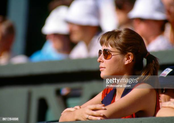 Samantha Frankel girlfriend of Ivan Lendl watches from the crowd as Lendl plays during the Wimbledon Lawn Tennis Championships at the All England...