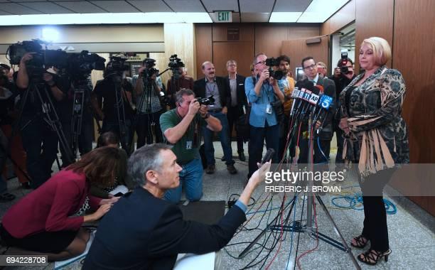 Samantha Geimer addresses the media outside the courtroom in Los Angeles California on June 9 2017 Geimer raped by filmmaker Roman Polanski as a...
