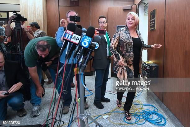 Samantha Geimer arrives to address the media outside the courtroom in Los Angeles California on June 9 2017 Geimer raped by filmmaker Roman Polanski...