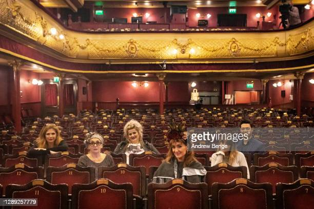 """Samantha Giles, Sue Johnston, Jodie Prenger, Catherine Tyldesley, Paula Lane, Stephen Rahman-Hughes pose during the """"The Ceremony"""" rehearsals at..."""