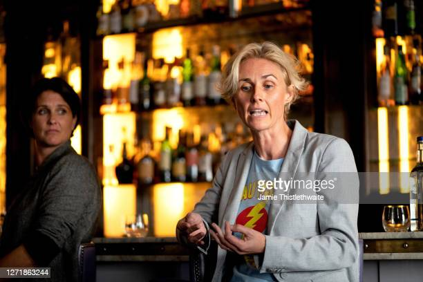 """Samantha Grierson responds to a question on the Cast and Crew panel during the """"Henpire"""" podcast launch event at Langham Hotel on September 10, 2020..."""