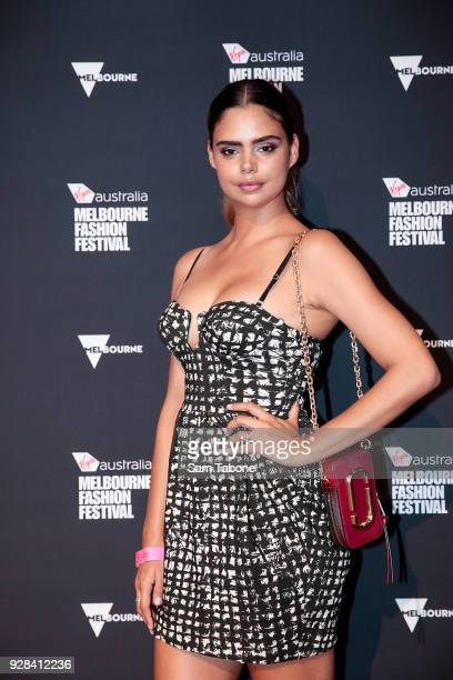 Samantha Harris arrives ahead of the VAMFF 2018 Runway 3 presented by Harper's BAZAAR on March 7 2018 in Melbourne Australia