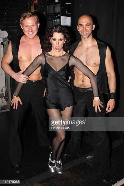 Samantha Harris as Roxie Hart poses with Jason Patrick Sands and Shawn Emamjomeh as she makes her broadway debut in Chicago on Broadway at the...