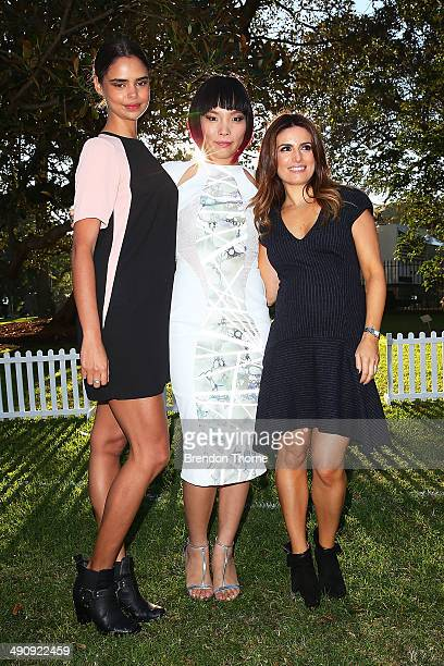 Samantha Harris Dami Im and Ada Nicodemou pose during a world record attempt at the longest selfie during a 'You Beauty' campaign consumer event at...