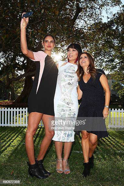 Samantha Harris Dami Im and Ada Nicodemou pose for a 'selfie' during a world record attempt at the longest selfie during a 'You Beauty' campaign...