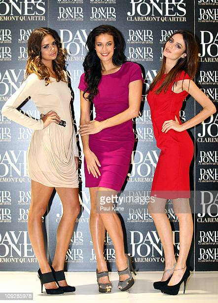 Samantha Harris Megan Gale and Nicole Trunfio pose at the launch of the David Jones Claremont store on February 19 2011 in Perth Australia The store...
