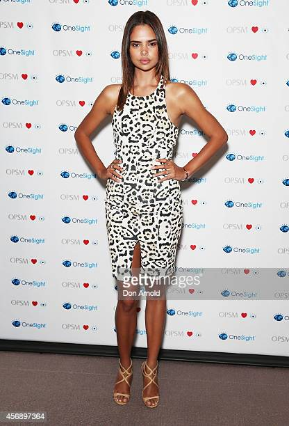Samantha Harris poses at the launch of the OneSight inspired RayBan Indigenous Special Edition Wayfarer at Australian Museum on October 9 2014 in...