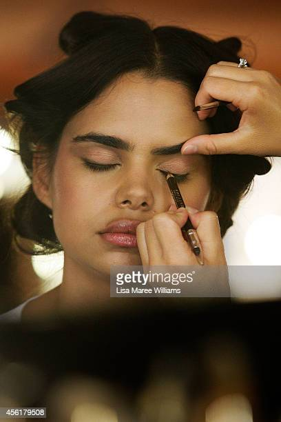 Samantha Harris prepares backstage ahead of the Target show during MercedesBenz Fashion Festival Sydney at Sydney Town Hall on September 27 2014 in...