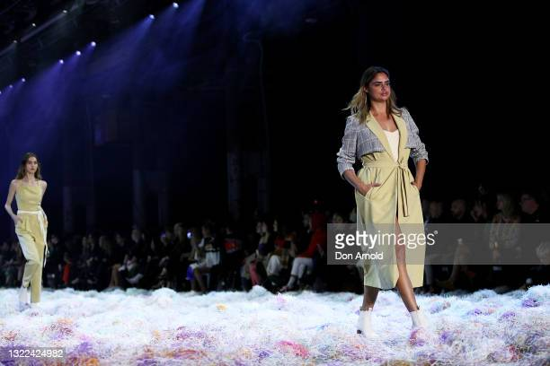 Samantha Harris walks the runway during the Afterpay's Future of Fashion show during Afterpay Australian Fashion Week 2021 Resort '22 Collections at...