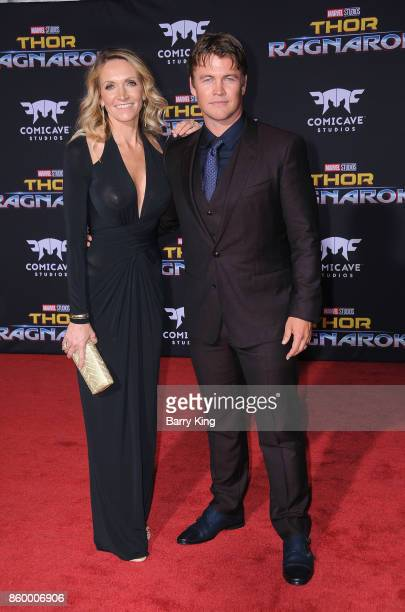 Samantha Hemsworth and husband actor Luke Hemsworth attends the world premiere of Disney and Marvel's 'Thor: Ragnarok' at El Capitan Theatre on...