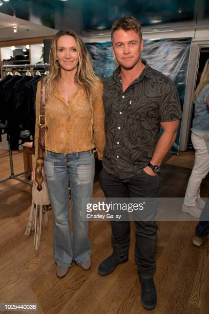 Samantha Hemsworth and Luke Hemsworth attend the launch of S.E.A. JEANS, celebrated by Outerknown, at Ron Herman Melrose on August 30, 2018 in Los...