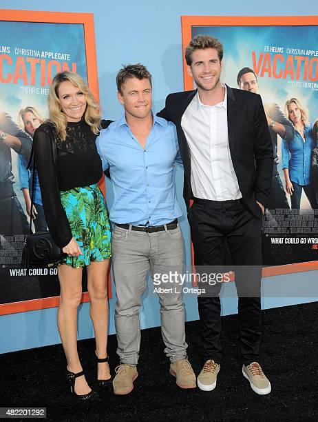 "Samantha Hemsworth, Luke Hemsworth and Liam Hemsworth arrive for the Premiere Of Warner Bros. Pictures' ""Vacation"" held at Regency Village Theatre on..."