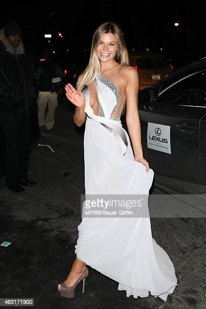 Samantha Hoopes arrives at the 2015 Sports Illustrated Swimsuit Celebration at Marquee on February 10 2015 in New York City