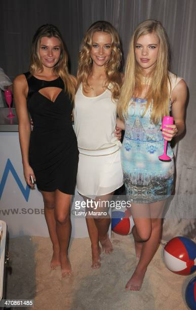 Samantha Hoopes Hannah Ferguson and Valerie Van Der Graaf attend Moet Hennessy's The Q presented by Creekstone Farms sponsored by Miami Magazine...