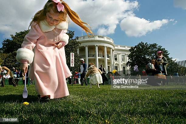 Samantha Hughes of New York City participates in the Easter Egg Roll on the South Lawn of the White House April 9 2007 in Washington DC The annual...
