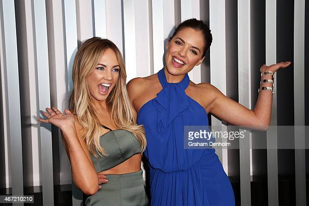 Samantha Jade and Olympia Valance pose at the TV Week Logie Awards Nominations Party at Crown Metropol on March 22 2015 in Melbourne Australia