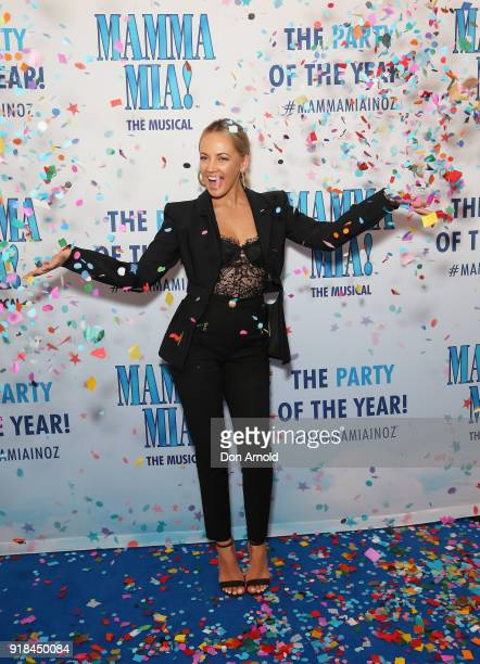 Samantha Jade arrives ahead of the premiere of Mamma Mia The Musical at Capitol Theatre on February 15 2018 in Sydney Australia