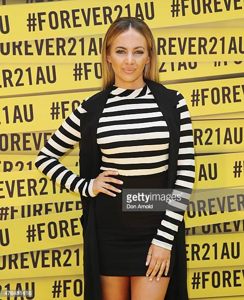 Samantha Jade arrives at the opening of the 'FOREVER 21' flagship store on Pitt Street on June 10, 2015 in Sydney, Australia.