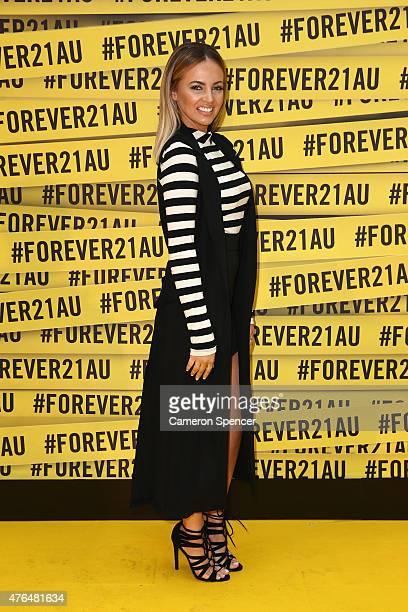 Samantha Jade arrives at the opening of the 'FOREVER 21' flagship store on Pitt Street on June 10 2015 in Sydney Australia