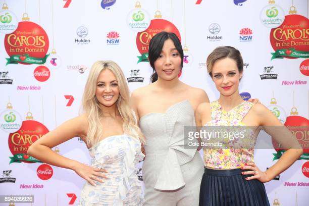 Samantha Jade Dami Im and Penny McNamee during Woolworths Carols in the Domain on December 17 2017 in Sydney Australia Woolworths Carols in the...