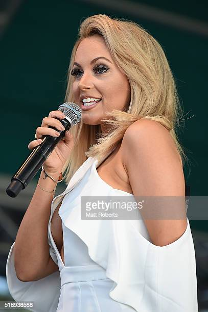 Samantha Jade performs on stage during the Official Reveal of GC2018 Mascot and Two Years to Go Celebrations at Burleigh Heads Beach on April 4 2016...