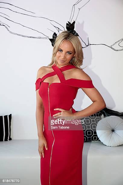 Samantha Jade poses in the Sensis marquee at the Birdcage Enclosure at Flemington Racecourse on October 27 2016 in Melbourne Australia