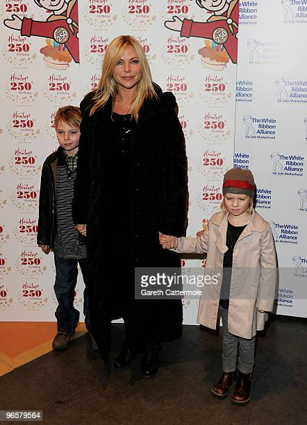 Samantha Janus and children attends the 250th Birthday Party of Hamleys at Hamleys on February 11 2010 in London England