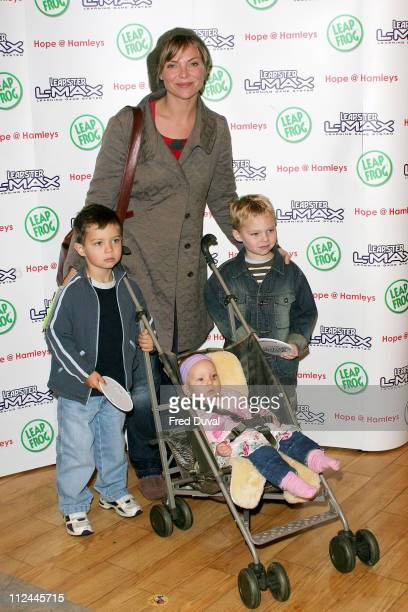 Samantha Janus and children during LeapFrog Toys Hosts an Exclusive Christmas Shopping Event to Benefit Children's Charity Hope at Hamleys Oxford...