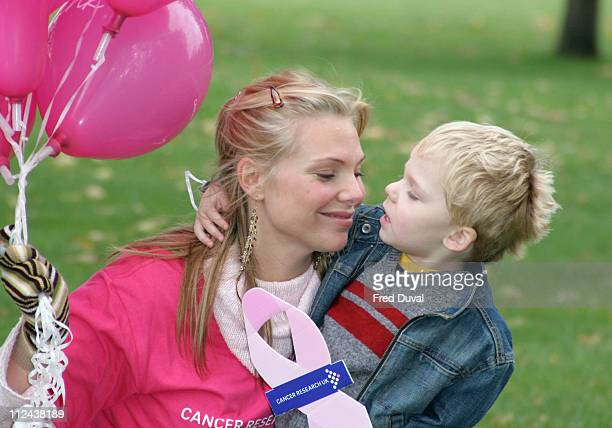 Samantha Janus with son Benjamin during Stride for Life 10K Walk to Benefit Breast Cancer Awareness Month at Hyde Park in London Great Britain