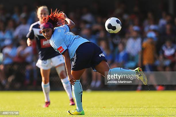 Samantha Johnson of Sydney FC heads the ball during the round four WLeague match between Sydney and Melbourne at Lambert Park on October 6 2014 in...