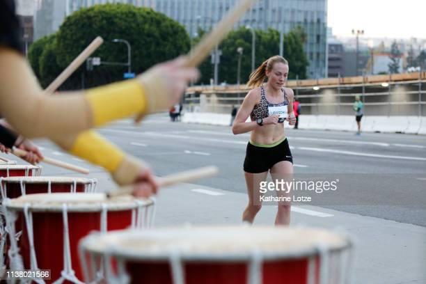 Samantha Juraschka of Manhattan Beach California runs the 2019 Skechers Performance Los Angeles Marathon on March 24 2019 in Los Angeles California