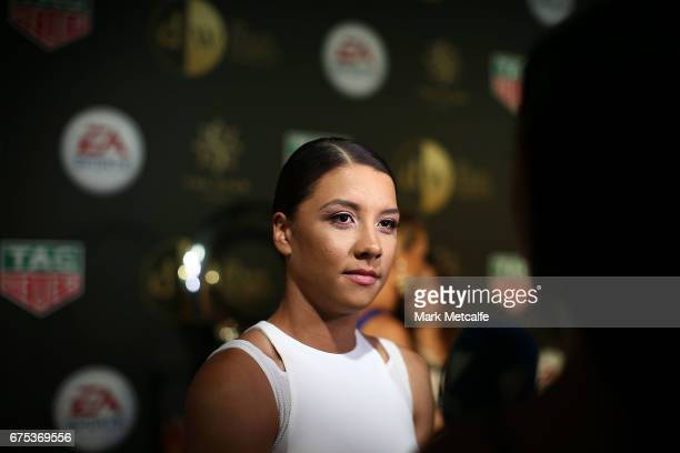 Samantha Kerr arrives ahead of the FFA Dolan Warren Awards at The Star on May 1 2017 in Sydney Australia