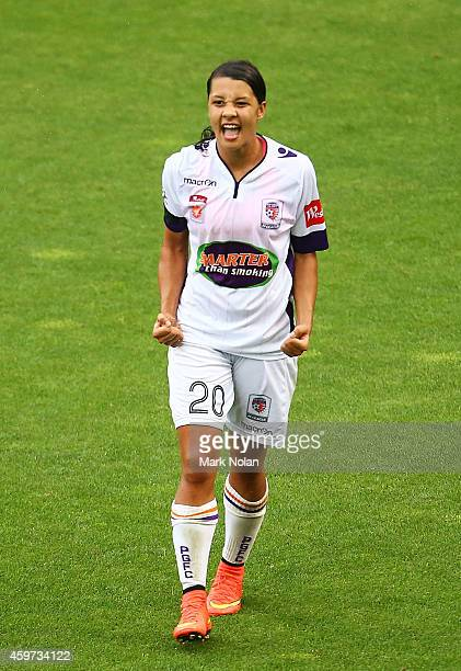 Samantha Kerr celebrates her third goal during the round 11 WLeague match between Sydney FC and Perth Glory at WIN Stadium on November 30 2014 in...