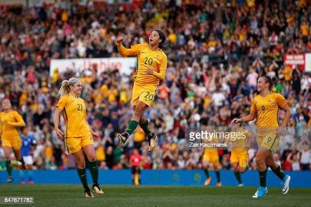 Samantha Kerr of Australia celebrates after scoring Australia's second goal during the women's international match between the Australian Matildas...
