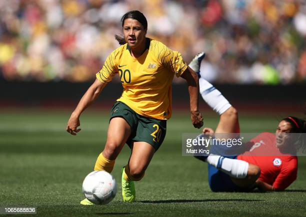 Samantha Kerr of Australia controls the ball during the International Friendly match between the Australian Matildas and Chile at Panthers Stadium on...