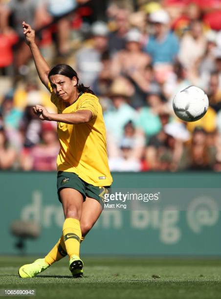 Samantha Kerr of Australia takes a shot on goal during the International Friendly match between the Australian Matildas and Chile at Panthers Stadium...