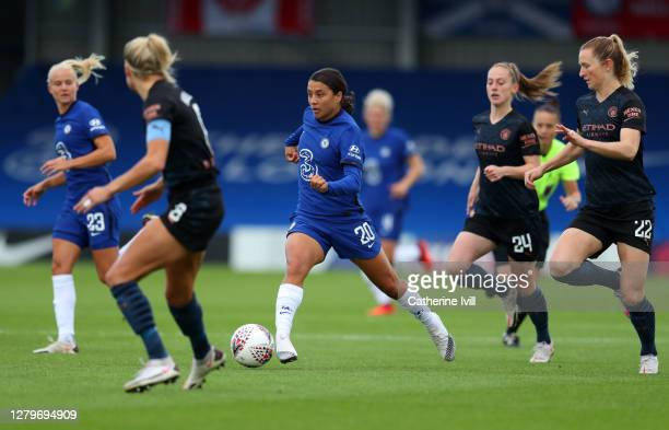 Samantha Kerr of Chelsea during the Barclays FA Women's Super League match between Chelsea Women and Manchester City Women at Kingsmeadow on October...