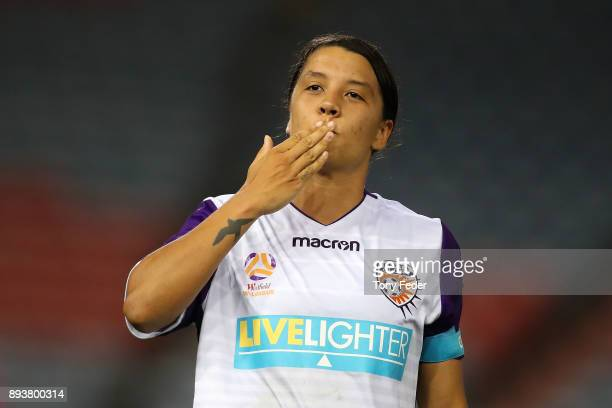 Samantha Kerr of Perth Glory celebrates a goal during the round eight WLeague match between the Newcastle Jets and the Perth Wildcats at McDonald...